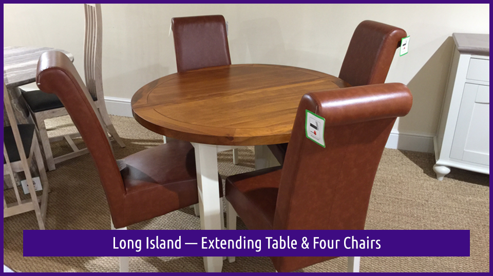 Long Island — Extending Table & Four Chairs in the Dovetail Interiors Easter Clearance SALE
