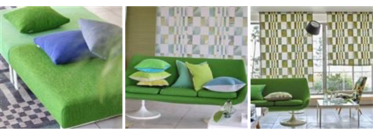 Green sofas from Designers Guild for the Biophilic Design blog post from Dovetail Interiors