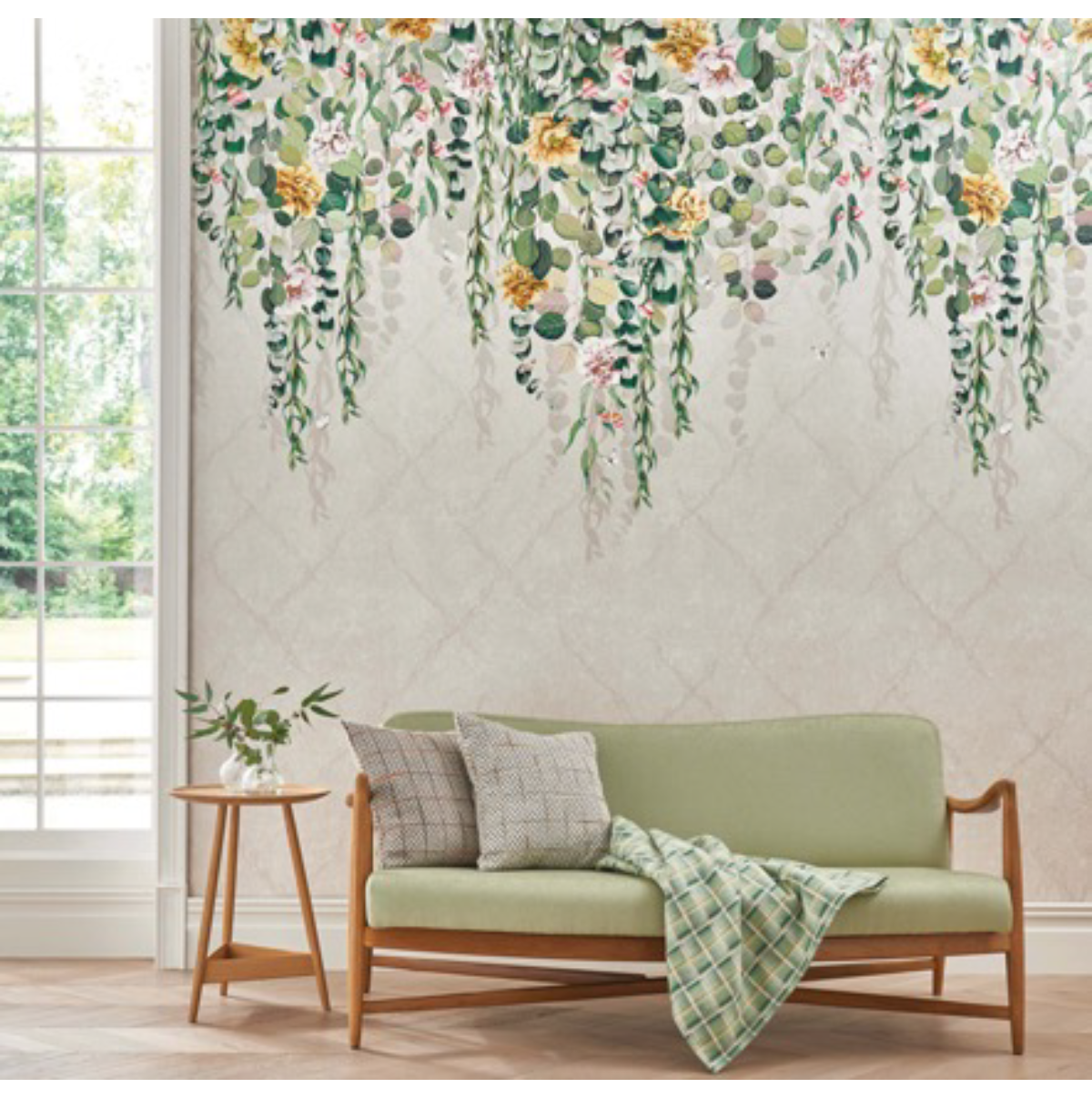 Green sofa from Osborne & Little for the Biophilic Design blog post from Dovetail Interiors